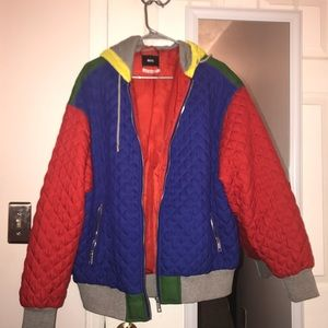 Color Block Bomber Style Jacket